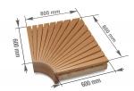 Modulare Elemente für Saunabank ECKMODUL, ERLE, 600x600mm