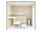 Valmiit koottavat saunat Käsin kokoonpantavat saunat Erilaiset sarjat TÄYDELLINEN RAKENNUSSARJA - SAUNA OPTIMAL, HAAPA