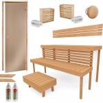Valmiit koottavat saunat Erilaiset sarjat Käsin kokoonpantavat saunat TÄYDELLINEN RAKENNUSSARJA - SAUNA STANDARD, LEPPÄ