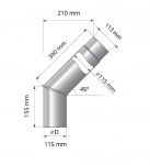 Smoke pipes HARVIA BENT PIPE FOR WOODBURNING STOVE 90°, Ø115MM HARVIA BENT PIPE FOR WOODBURNING STOVE 90°, Ø115MM