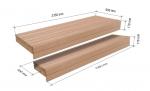 Éléments modulaires pour banc de sauna FINI MODULE KIT, AULNE, 600/400x2350mm
