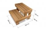 Sauna Hocker Modulare Elemente für Saunabank HOCKER HS 2, ERLE, THERMO ESPE