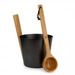 Sauna buckets, pails, basins SAUFLEX ALUMINIUM BUCKET AND LADLE SET GOLD SAUFLEX ALUMINIUM BUCKET AND LADLE SET
